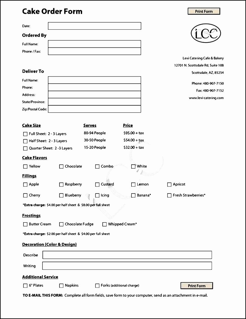 Cake order form Templates Awesome Cake order form Template Free