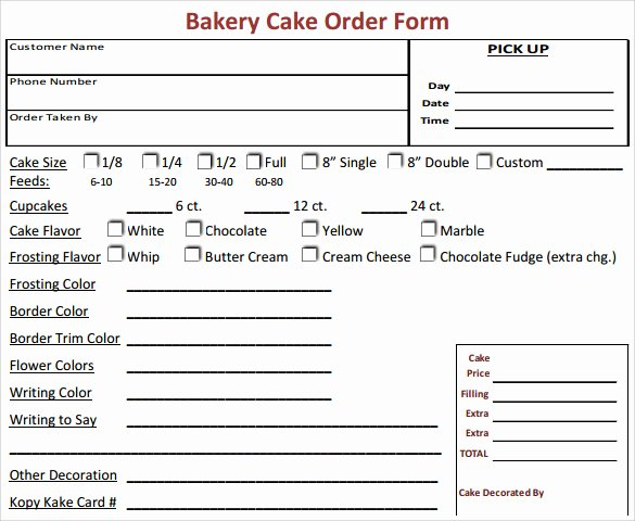 Cake order form Templates Beautiful Sample Cake order form Template 16 Free Documents