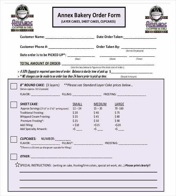 Cake order form Templates Best Of 15 Bakery order Templates – Free Sample Example format