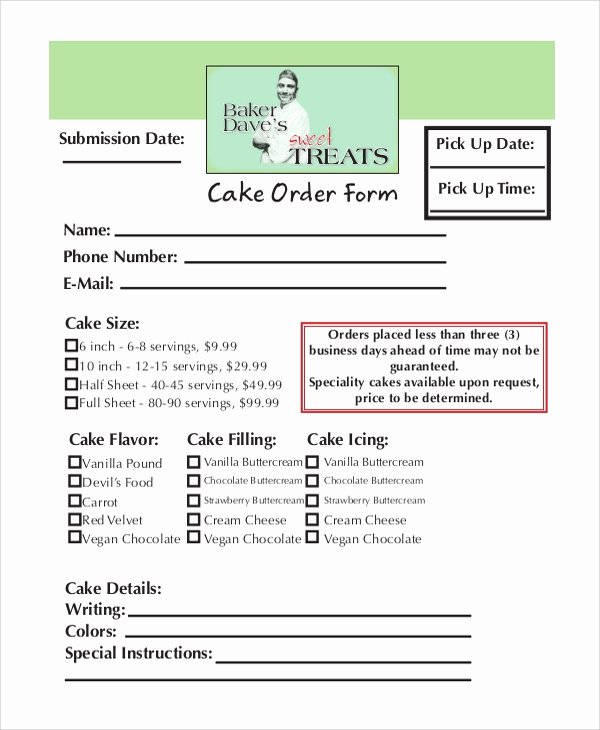 Cake order form Templates Fresh order form Samples Examples Tempales 7 Documents In