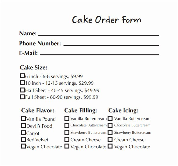 Cake order form Templates Fresh Sample Cake order form Template 13 Free Documents