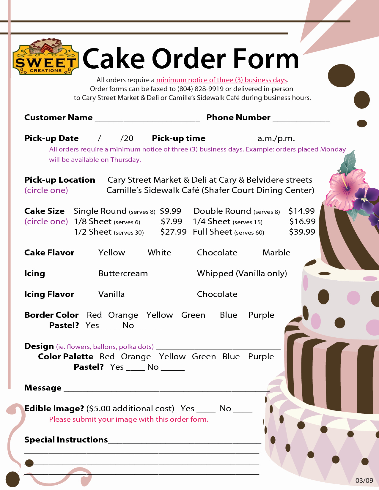 Cake order form Templates Lovely order forms Cake Negocios Pinterest