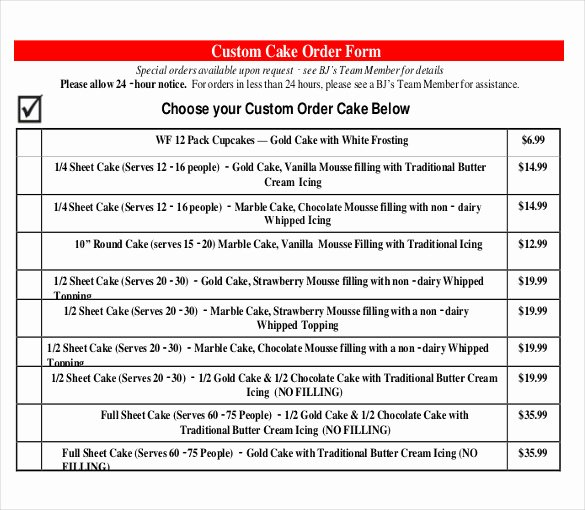 Cake order form Templates New 9 form Bj S Cakes Bj wholesale Cakes order form