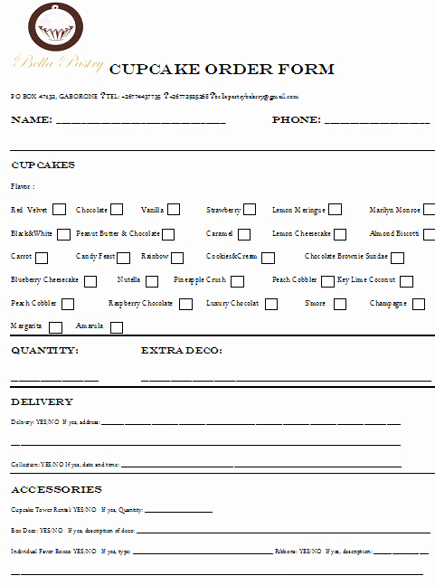 Cake order form Templates New Cake Consultation form Menus and order forms