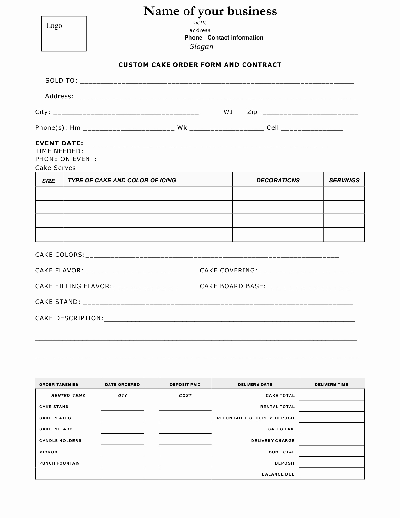 Cake order forms Templates Beautiful Cake Contract Sample Cakepins