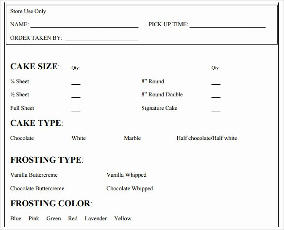Cake order forms Templates Beautiful Sample Cake order form Template 16 Free Documents