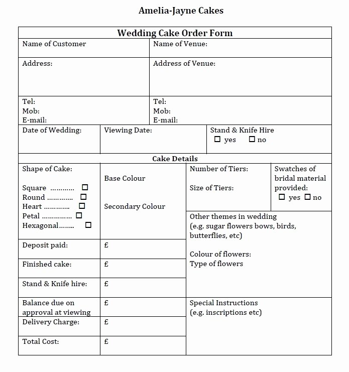 Cake order forms Templates Beautiful Wedding Cake order form Idea In 2017