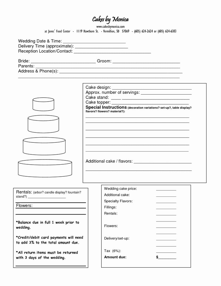 Cake order forms Templates Elegant 75 Best Images About Cake Business order form On Pinterest