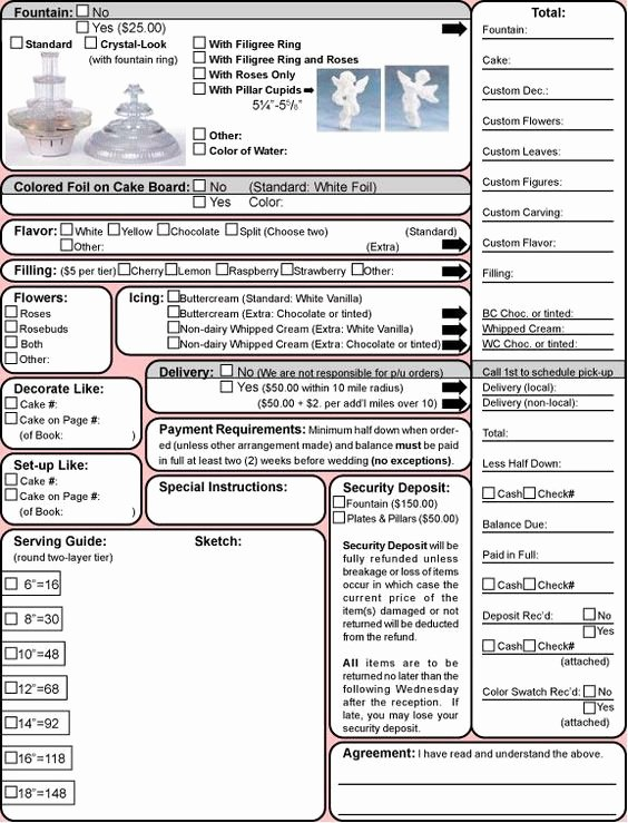 Cake order forms Templates Fresh Wedding Cake Contract Template