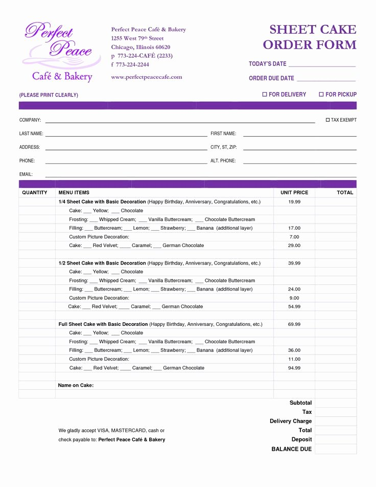 Cake order forms Templates Lovely Cake order form Template Free Google Search