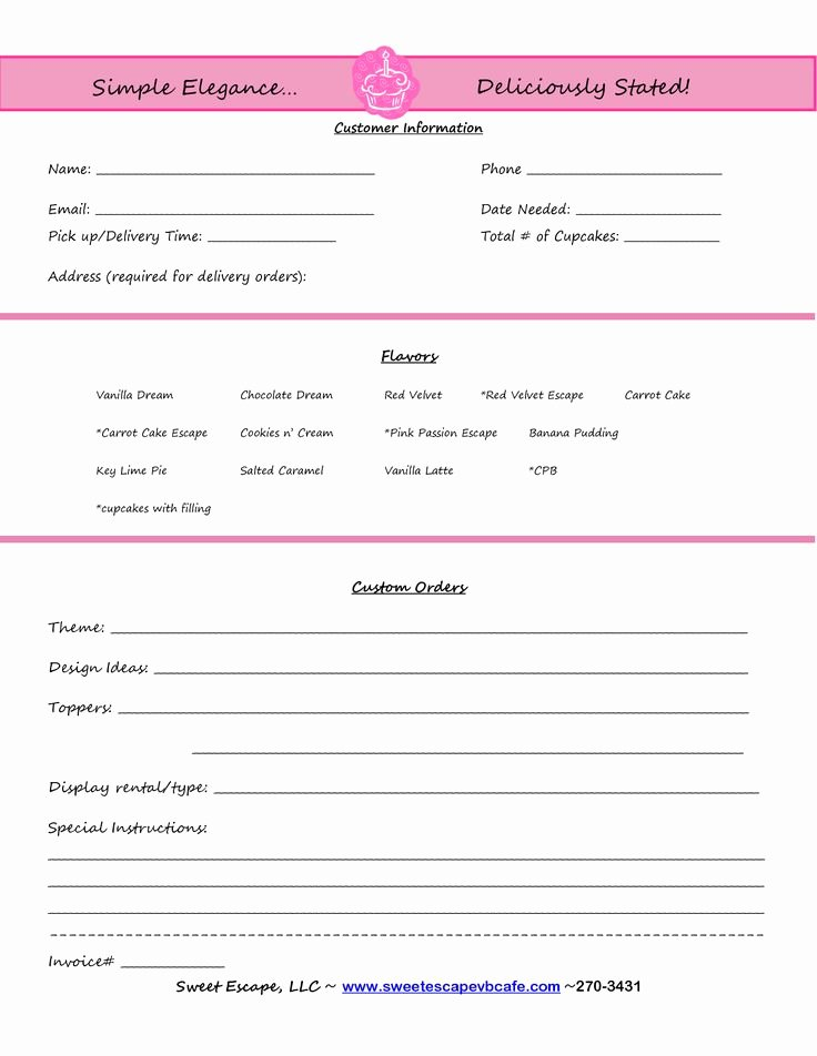 Cake order forms Templates Luxury Cake order form Templates Free Cupcakes