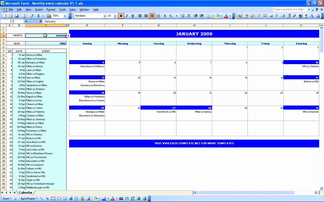 Calendar Of events Template Awesome Monthly event Calendar