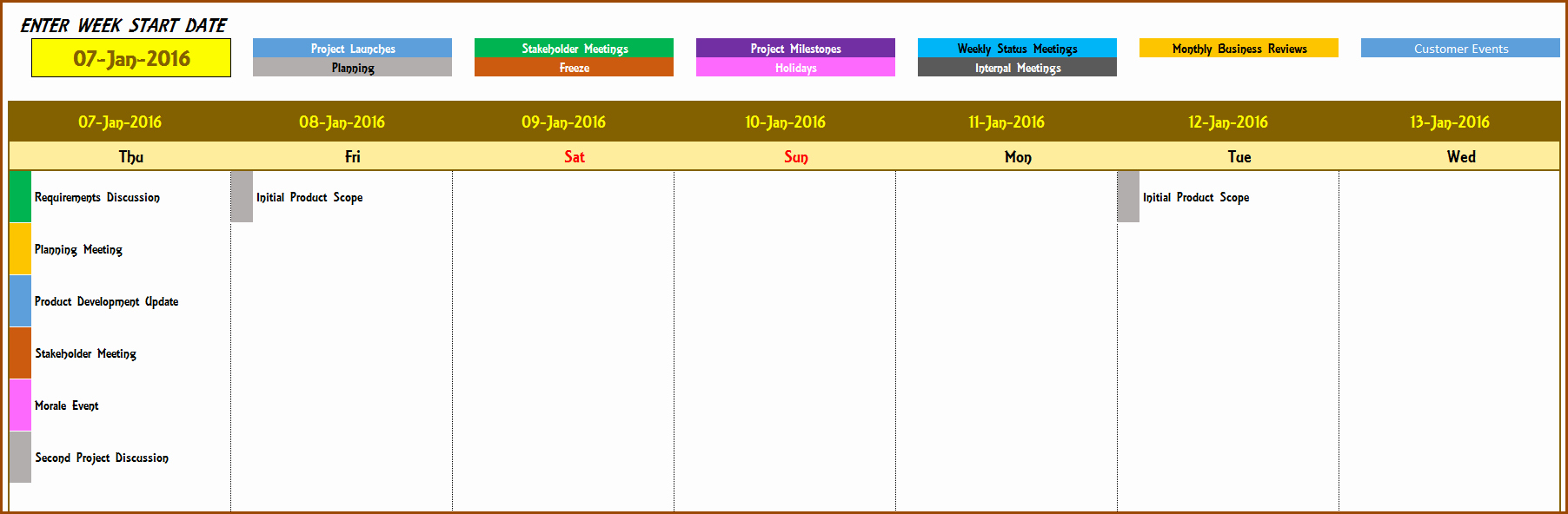 Calendar Of events Template Beautiful 2016 Weekly Calendar event Calendar Maker Excel Template