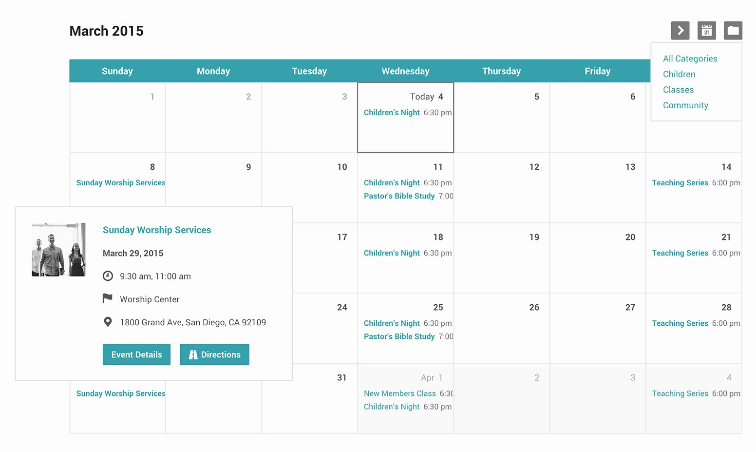 Calendar Of events Template Beautiful Church events Calendar and Categories for Wordpress