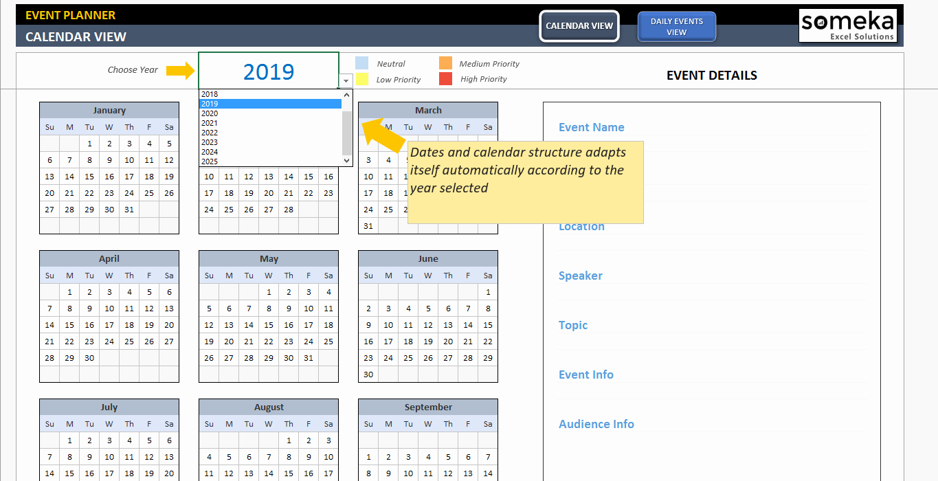 Calendar Of events Template Lovely Dynamic event Calendar Template Interactive Excel Calendar