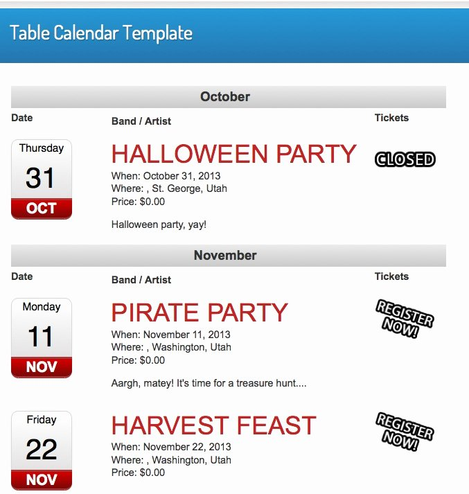 Calendar Of events Template Luxury events Calendar Table Template event Espresso