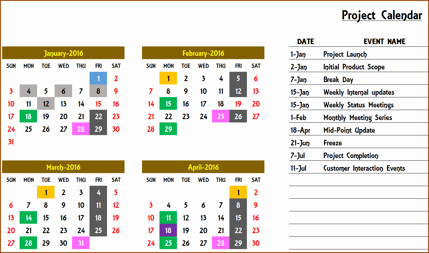 Calendar Of events Template Luxury Excel Calendar Template Excel Calendar 2019 2020 or Any