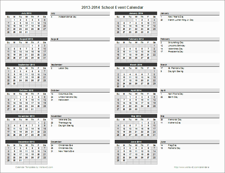 Calendar Of events Template Luxury School Calendar Template 2019 2020 School Year Calendar