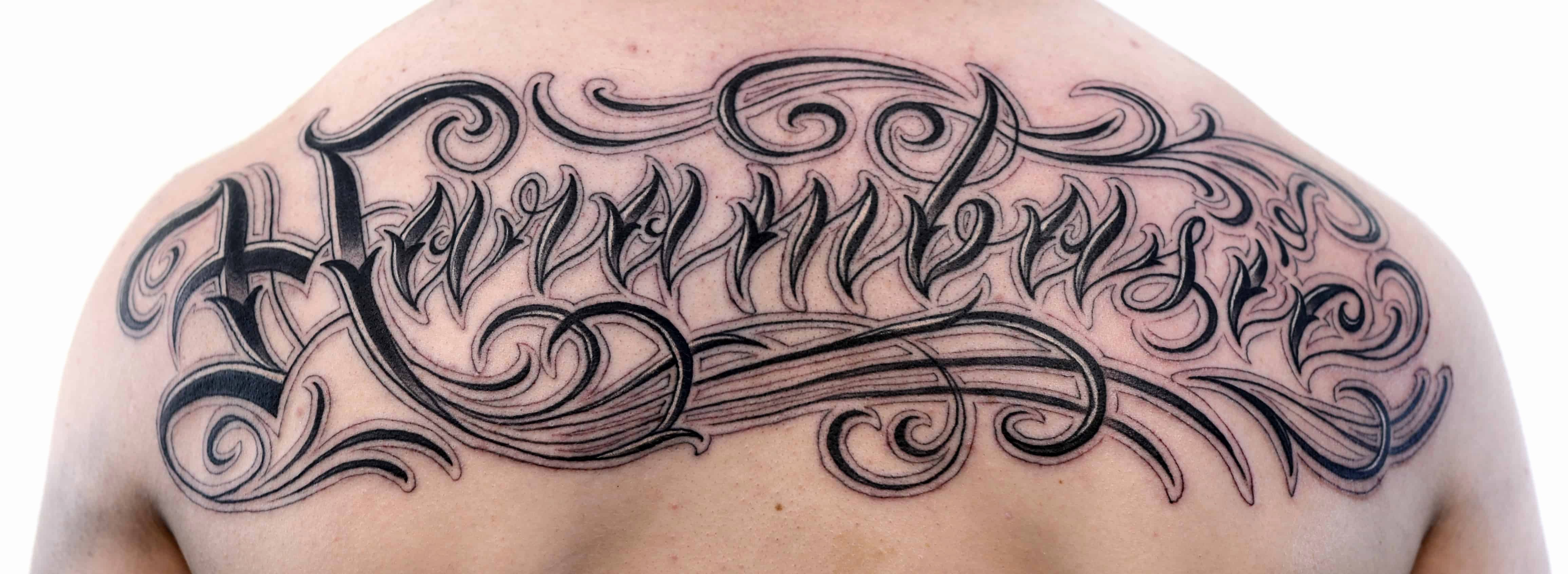 Calligraphy Font for Tattoo Beautiful Custom Script Writing Tattoo On the Back Chronic Ink
