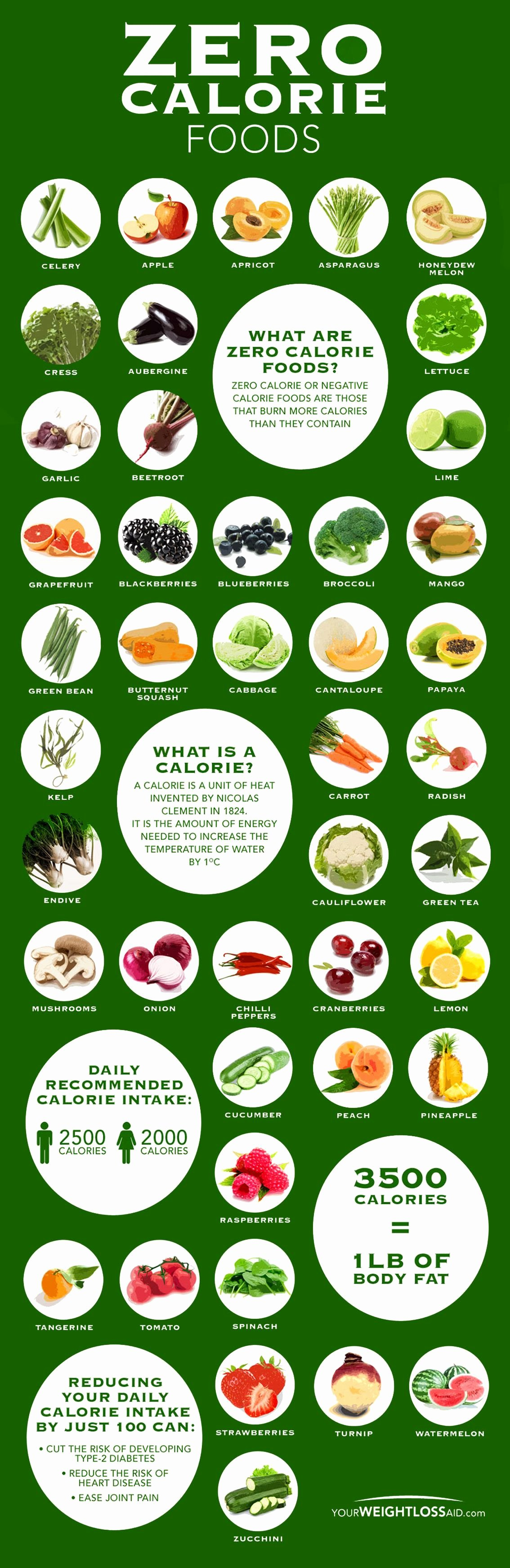 Calorie Charts for Food Awesome Zero Calorie Food Chart [infographic]