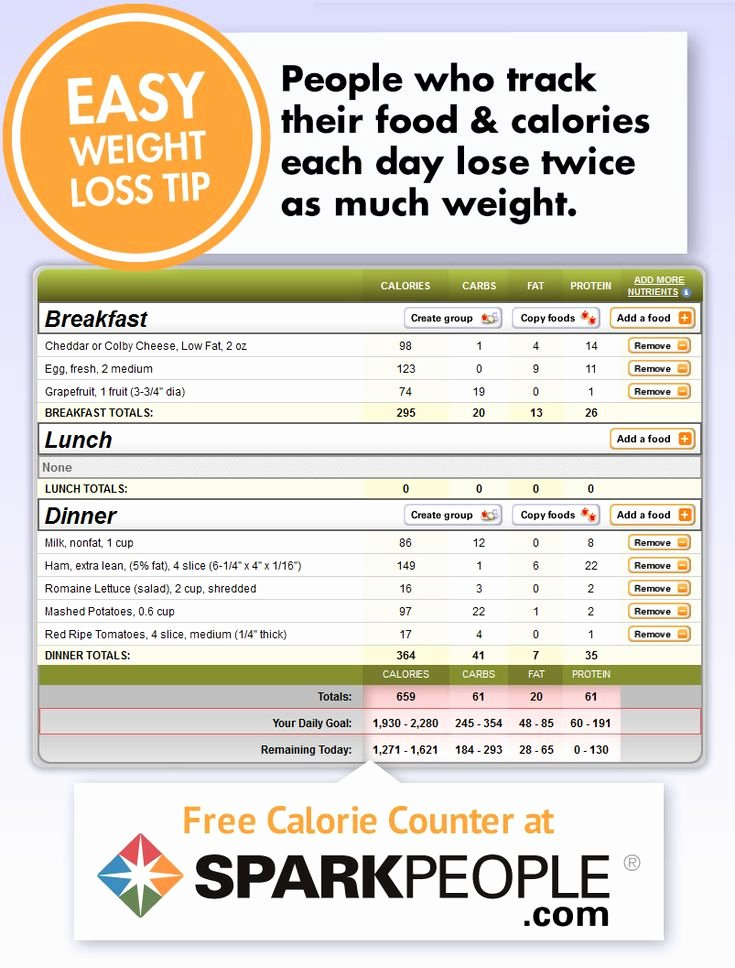 Calorie Charts for Food Best Of Free Calorie Counter by Sparkpeople This Website Has