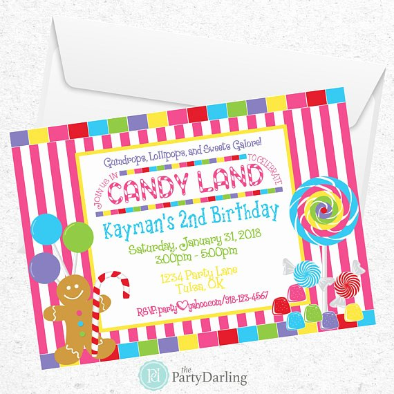 Candyland Birthday Party Invitations Awesome Candy Land Invitation Candy Land Party Candyland
