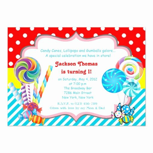 Candyland Birthday Party Invitations Awesome Candyland Candy theme Birthday Invitation