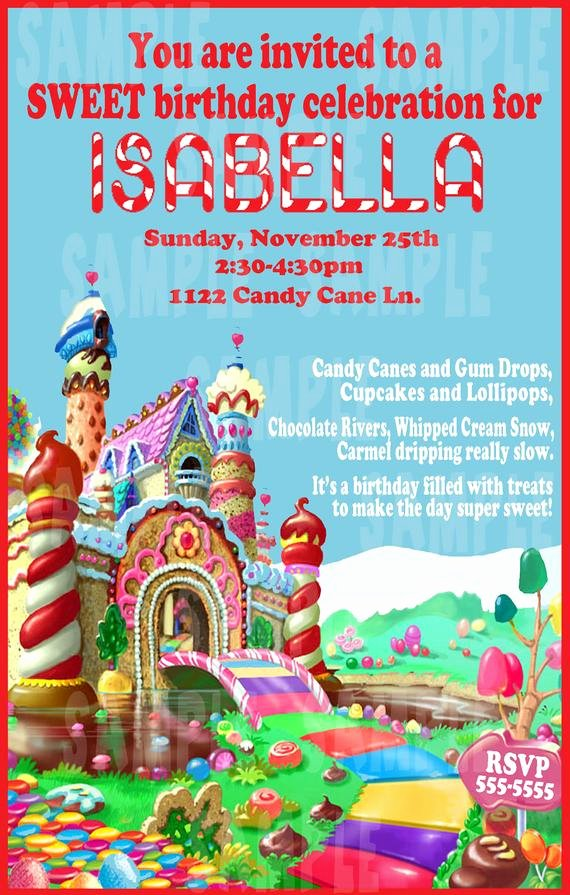 Candyland Birthday Party Invitations Beautiful Jennifer Rowley On Etsy