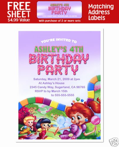 Candyland Birthday Party Invitations Best Of 8 Candyland Birthday Party Invitations