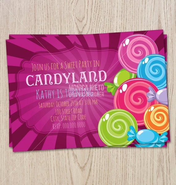 Candyland Birthday Party Invitations Elegant Printable Sweet Shop Candyland Birthday Party Invitation