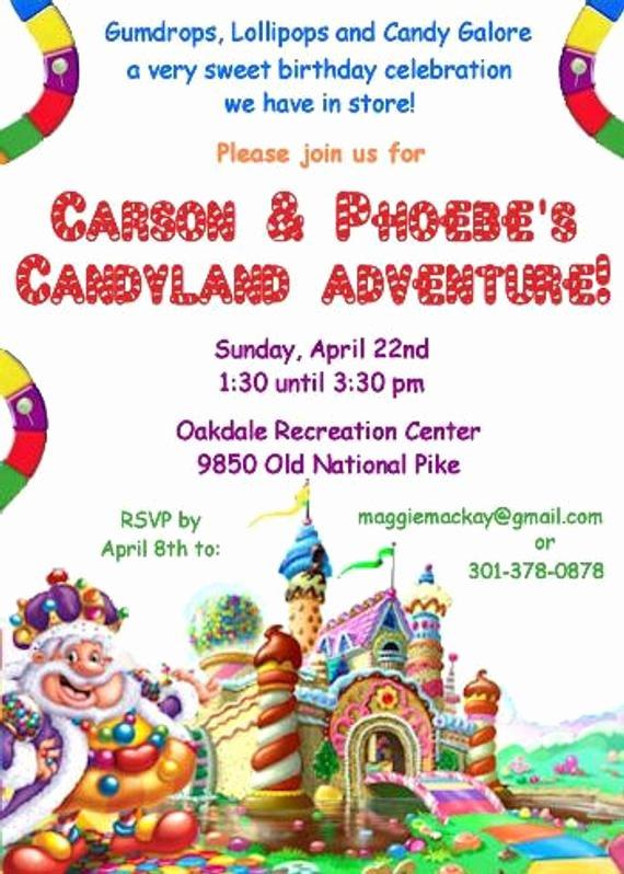 Candyland Birthday Party Invitations Fresh Items Similar to Candyland Birthday Party Invitation On Etsy