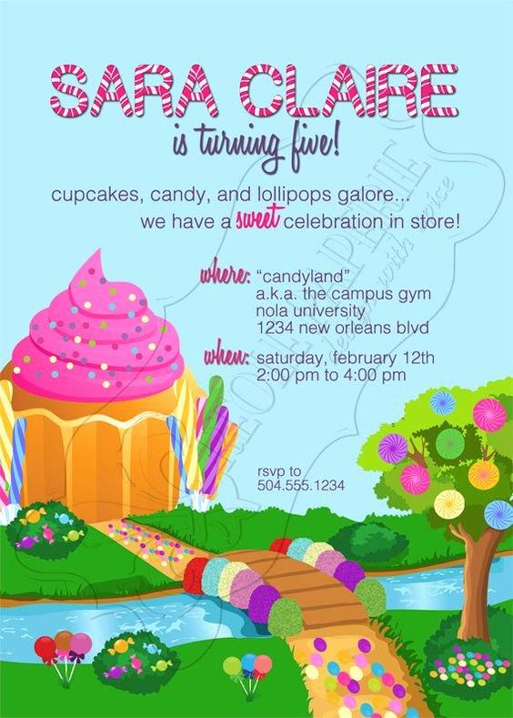 Candyland Birthday Party Invitations Fresh Sweet Shop Candy Land Birthday Party Invitation