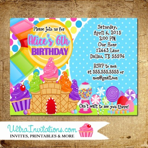 Candyland Birthday Party Invitations Lovely Candyland Birthday Party Invitations Printable Digital or