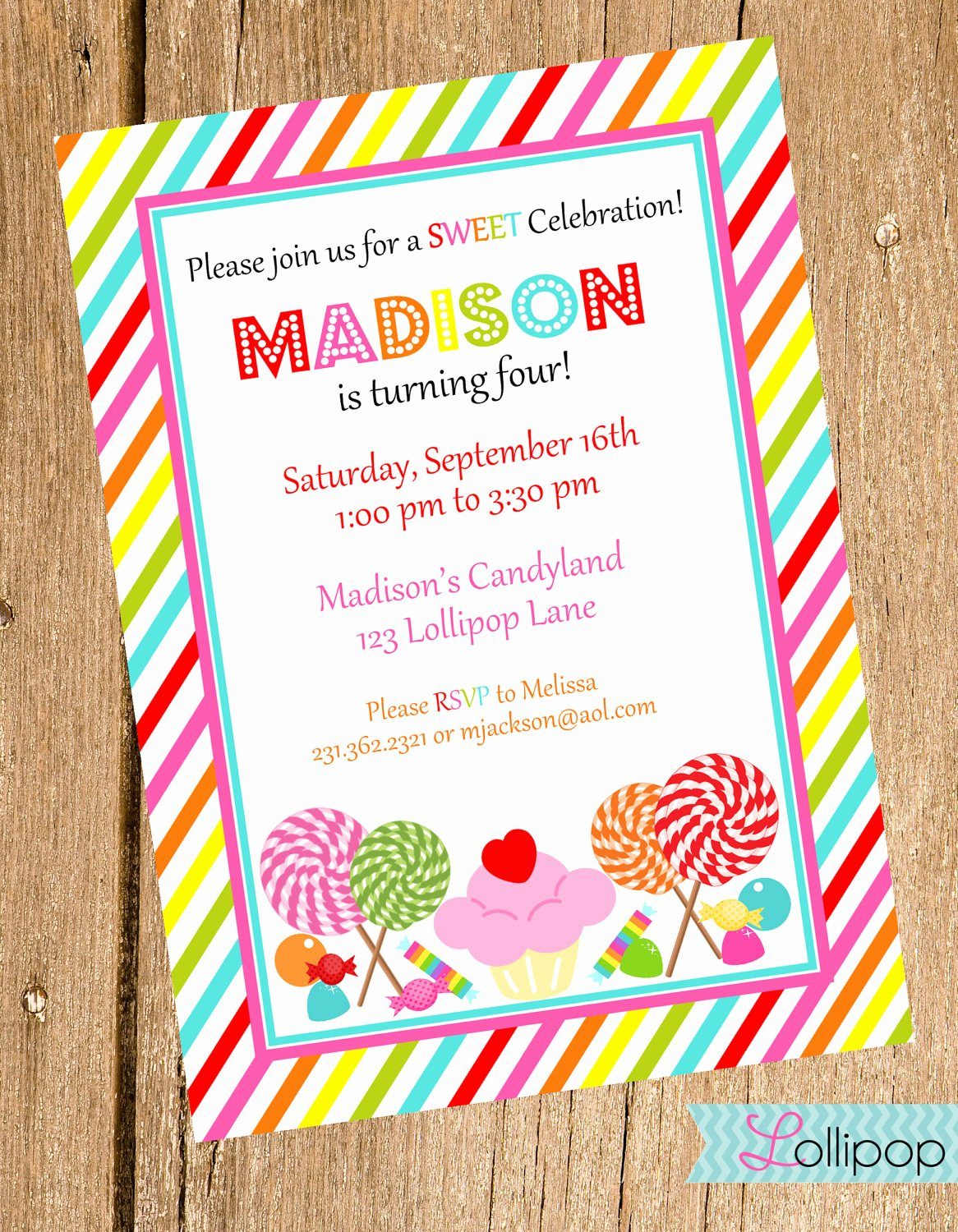 Candyland Birthday Party Invitations Luxury Candy Printable Birthday Invitation Sweet Treats by
