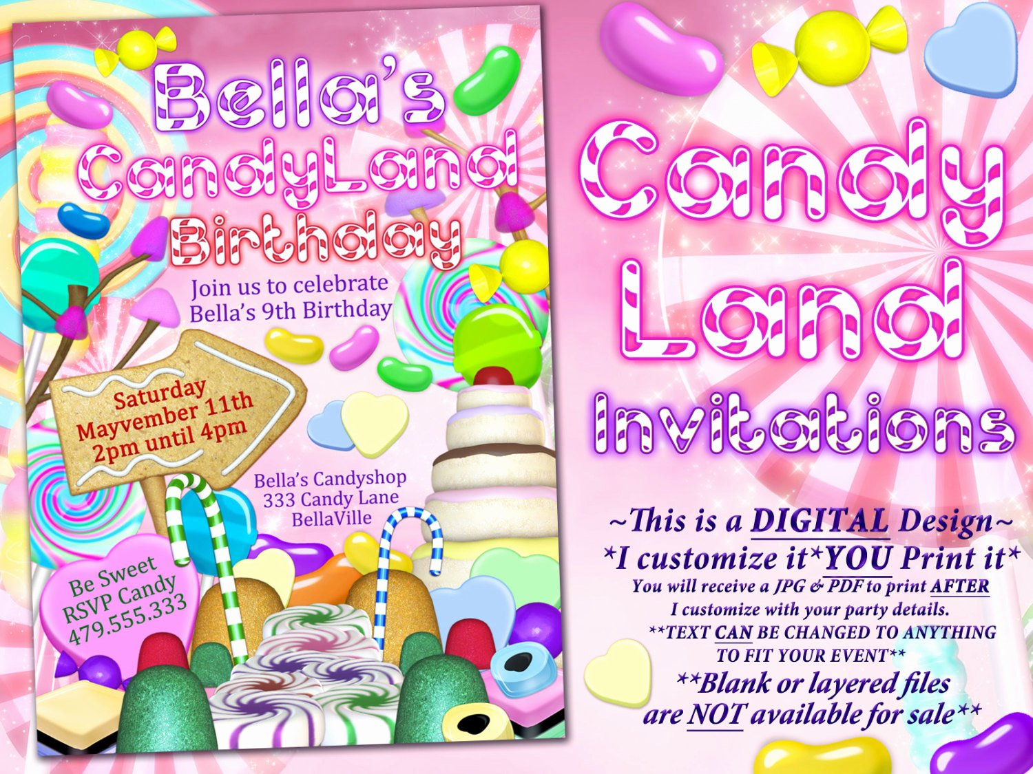Candyland Birthday Party Invitations Luxury Candyland Birthday Party Invitation Candy Land Party