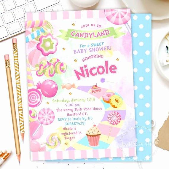 Candyland Birthday Party Invitations Unique Candyland Baby Shower Invitation Candy Land Party