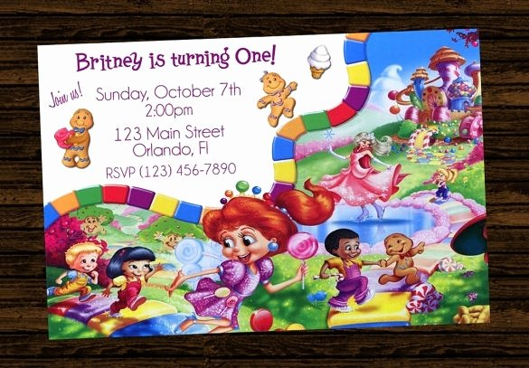 Candyland Birthday Party Invitations Unique Candyland Invitations Printable Cobypic