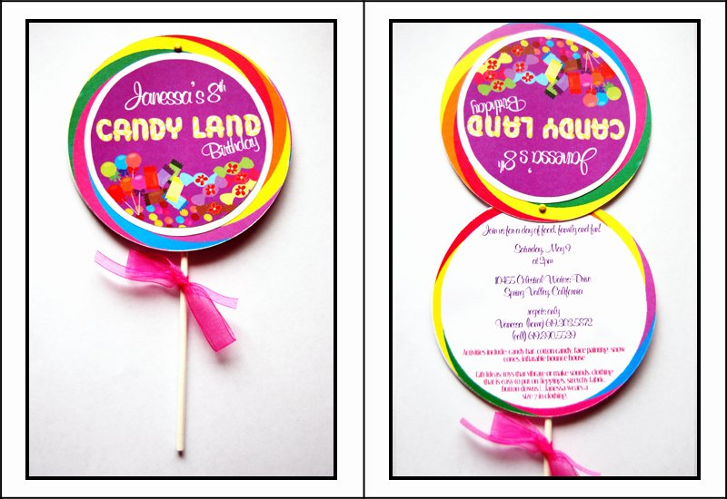 Candyland Birthday Party Invitations Unique How to Make A Lollipop Invitation — Pretty In Prints