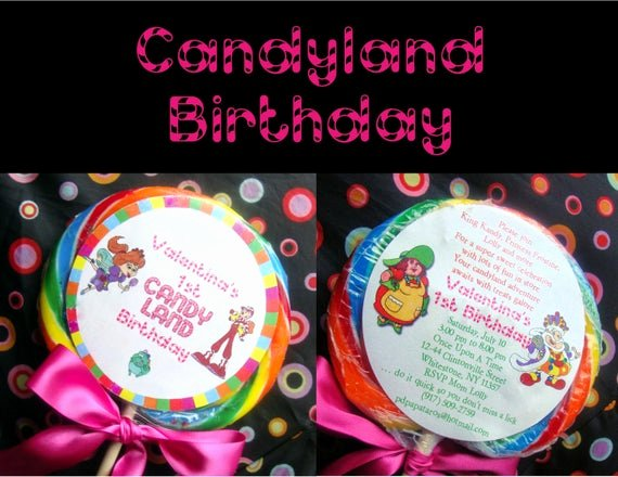Candyland Birthday Party Invitations Unique Items Similar to Candyland Birthday Invitation Sticker On Etsy