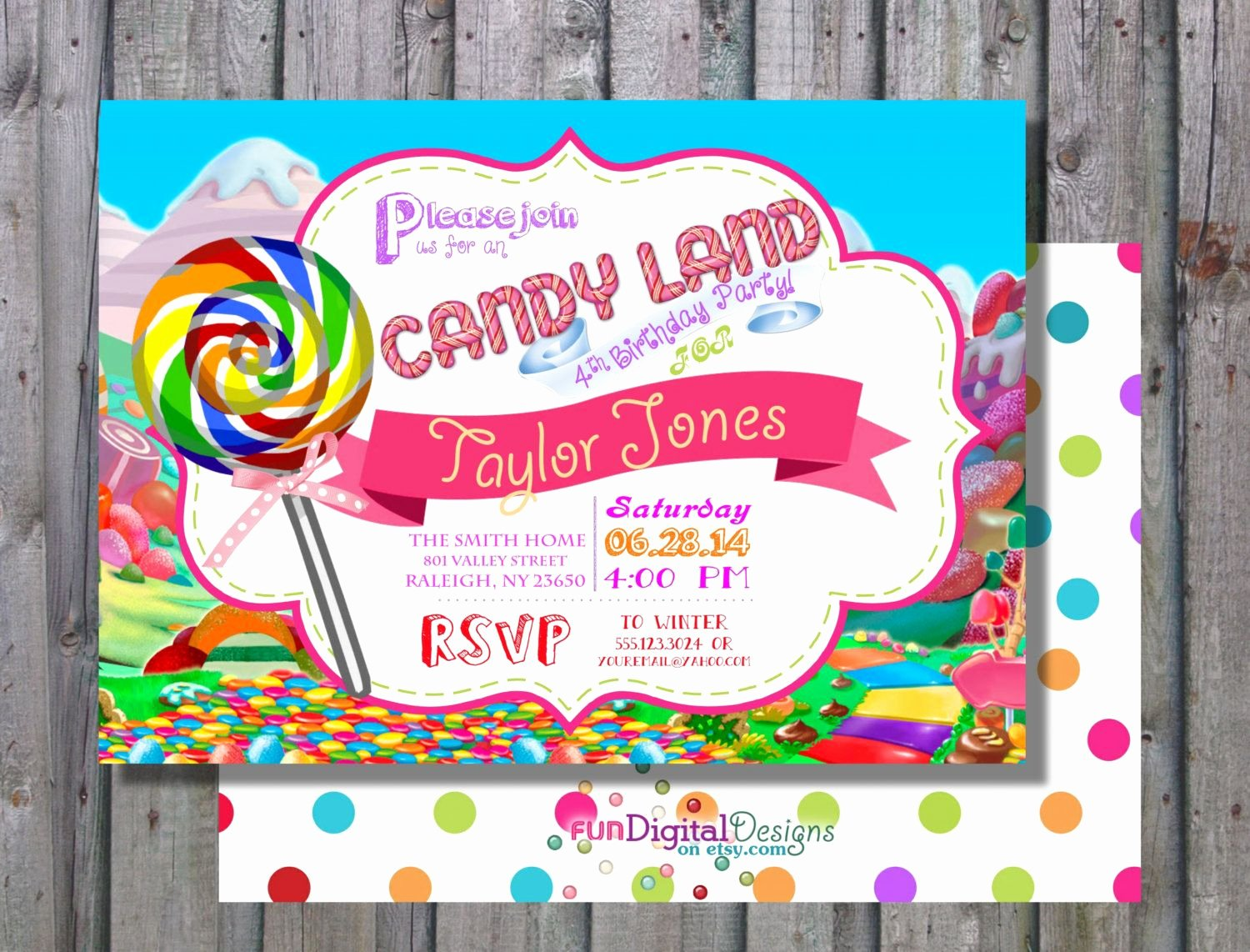 Candyland Birthday Party Invitations Unique Land Of Candy Birthday Party Candy Invitation Candy