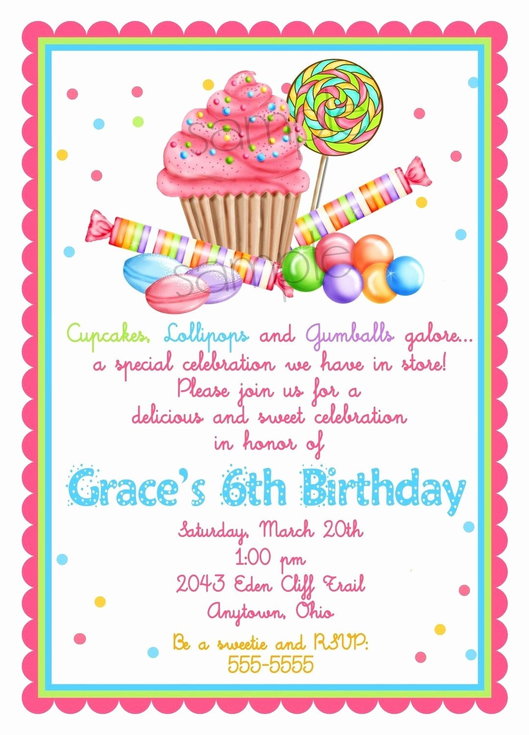 Candyland Birthday Party Invitations Unique Sweet Shop Birthday Party Invitations by Littlebeaneboutique