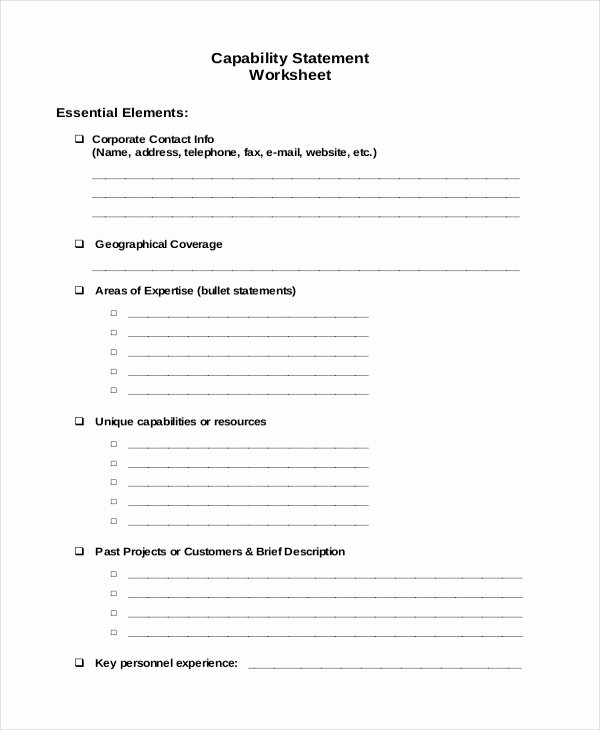 Capability Statement Template Word Awesome 11 Statement Templates Free Word Pdf Documents