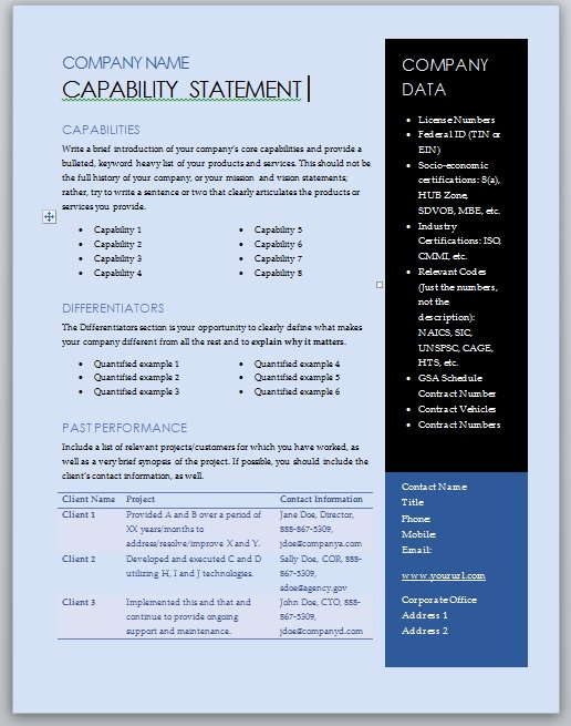 Capability Statement Template Word Awesome Free Capability Statement Template – Blue and Black