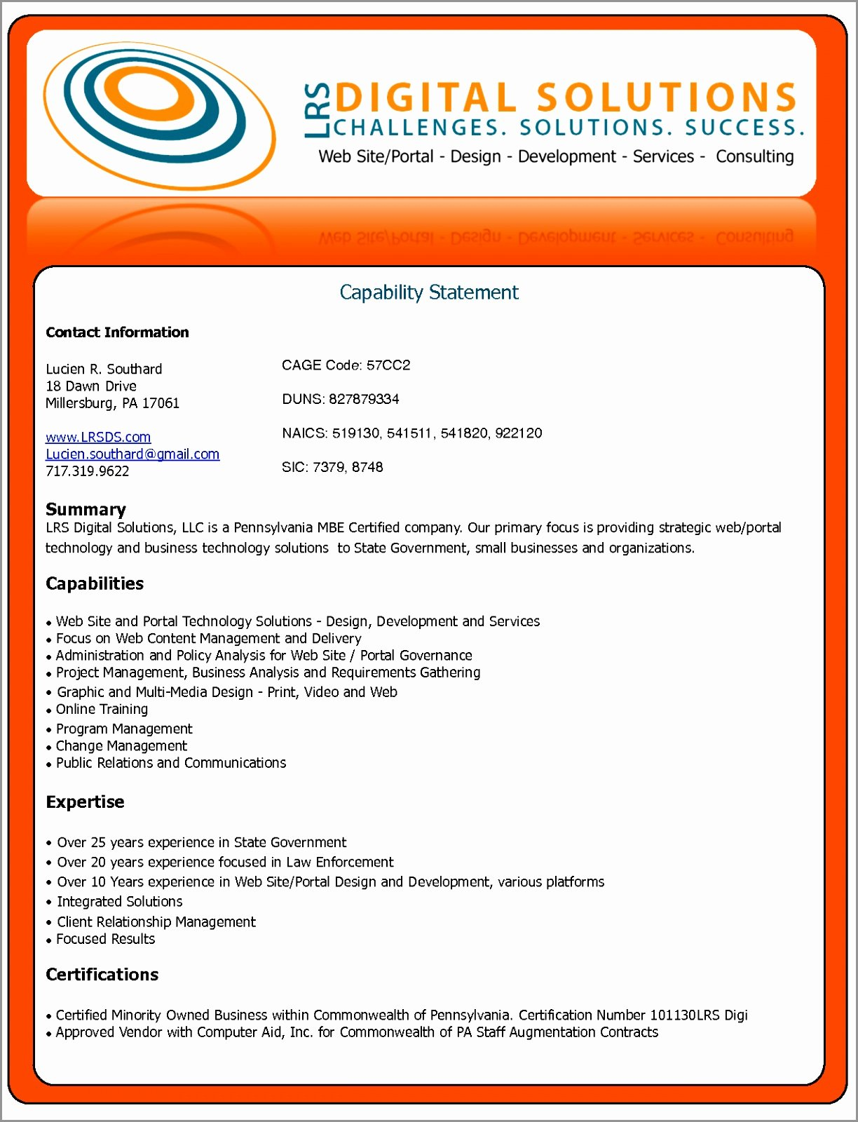 Capability Statement Template Word Awesome Sample Capability Statement Templates – 15 Free Documents