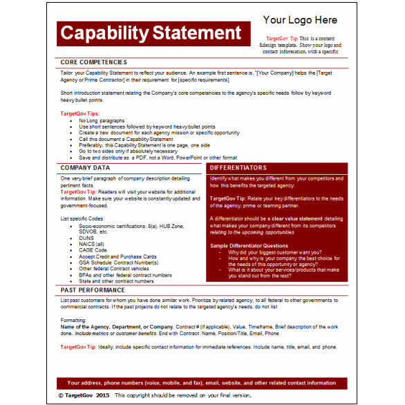 Capability Statement Template Word Beautiful Capability Statement Editable Template Tar Gov