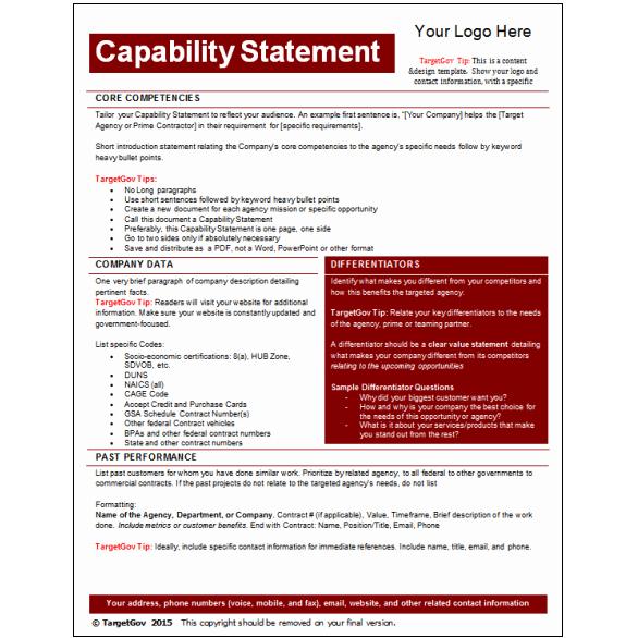 Capability Statement Template Word Beautiful Capability Statement Editable Template Tar Gov