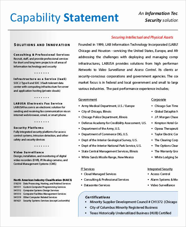 Capability Statement Template Word Elegant 12 Capability Statement Template Word Pdf Google Docs
