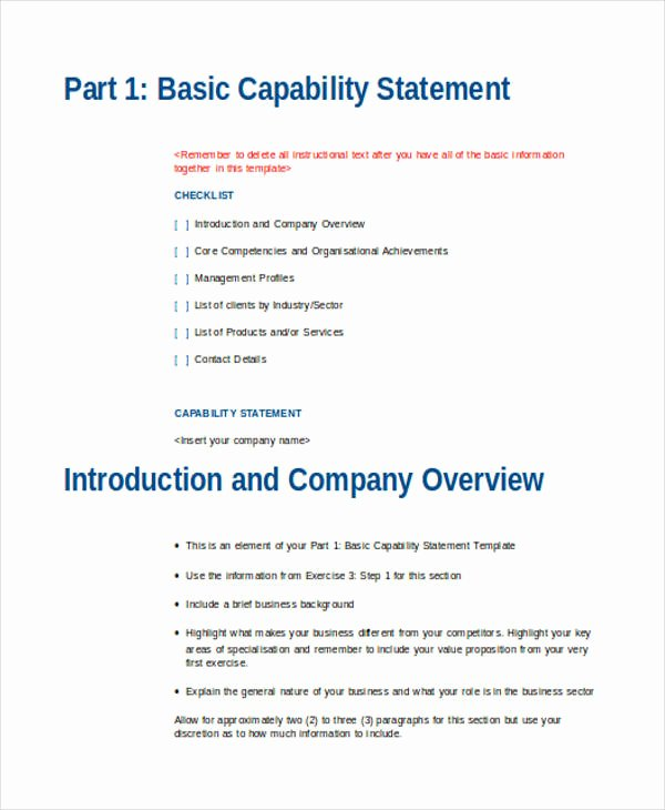 Capability Statement Template Word Lovely Free 34 Statement Examples In Doc