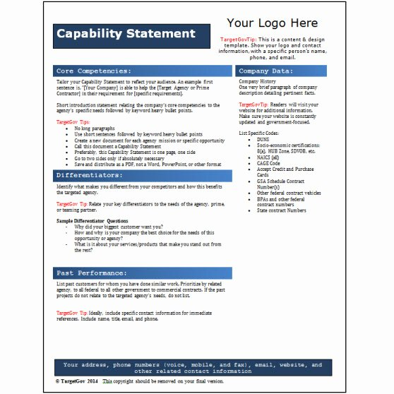 Capability Statement Template Word Unique Capability Statement Editable Template Blue Tar Gov
