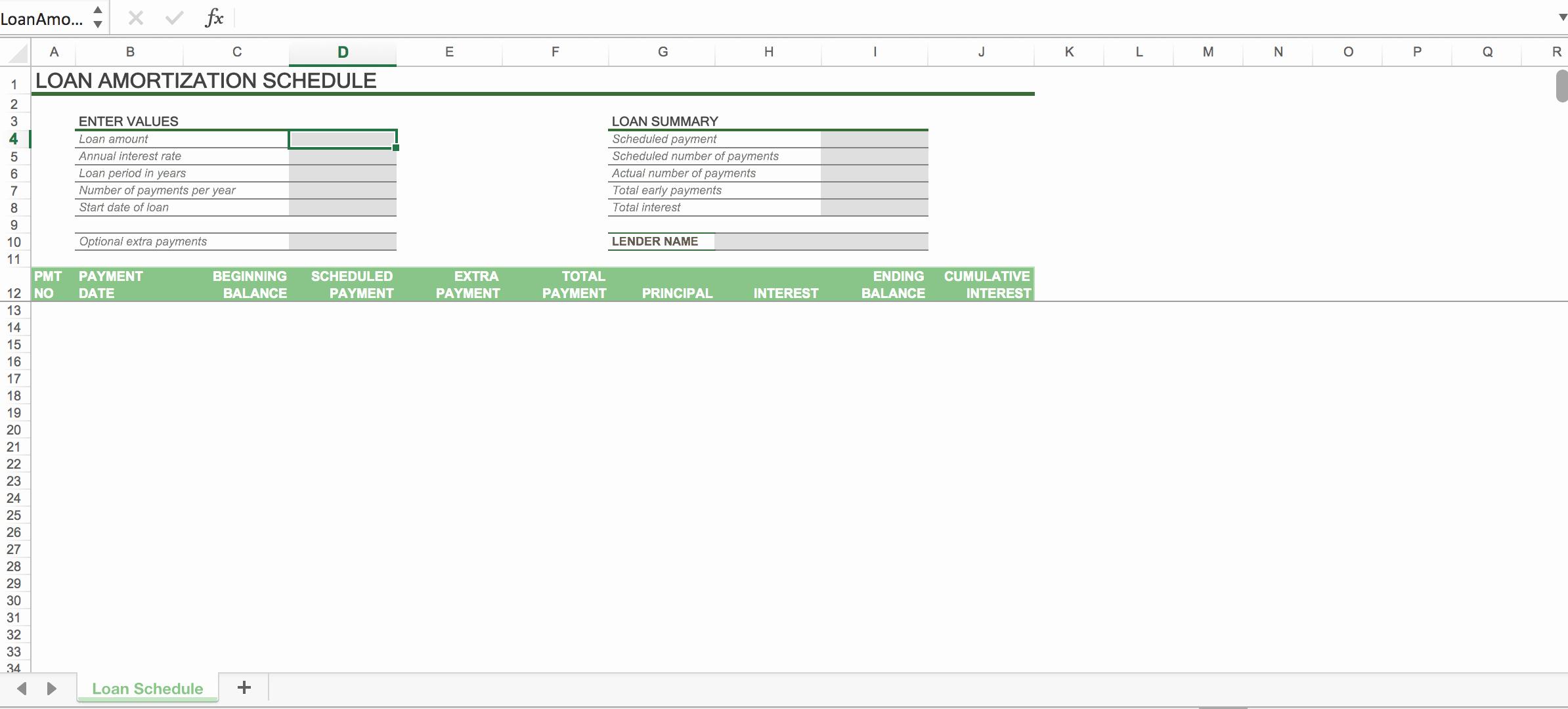Car Amortization Schedule Excel New Car Loan Amortization Schedule Excel with Extra Payments